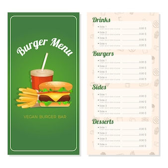 Burger menu template for restaurant