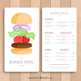 Burger menu template with classic design