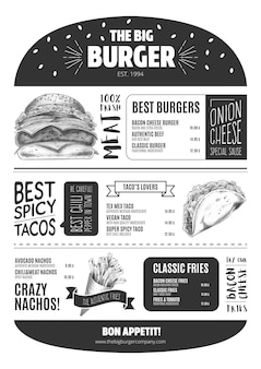 Burger menu template with hand drawn fast food