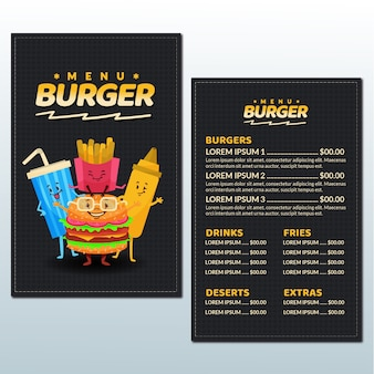 Burger menu template with illustrations