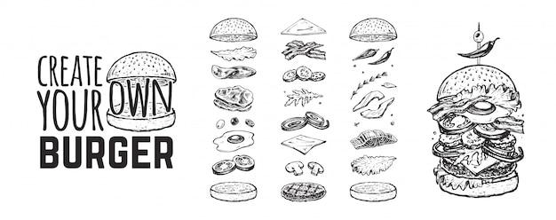 バーガーメニュー。ハンバーガーとその成分の手描きのスケッチとビンテージテンプレート。パン、キュウリ、卵、サラダ、トマト、チーズ。