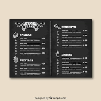 Burger place menu template in blackboard style