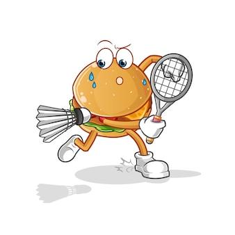 Бургер играет в бадминтон иллюстрации. персонаж