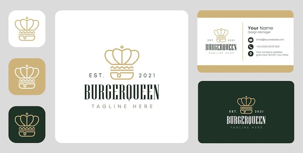 Burger queen logo with stationary design
