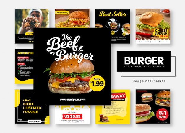 Burger restaurant food social media post template banners