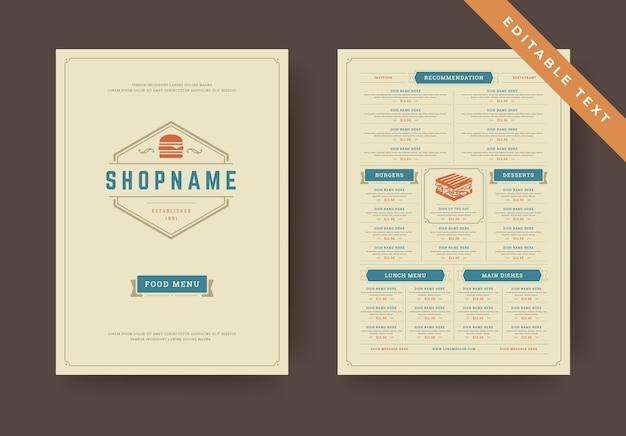 バーガーレストランメニューレイアウトデザインパンフレットまたはファーストフードチラシ編集可能なテキストテンプレートイラスト。ビンテージの活版印刷の装飾要素とファーストフードのグラフィックが付いたハンバーガーのロゴ。