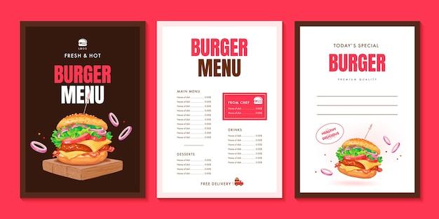 버거 레스토랑 메뉴 레이아웃 디자인 브로셔