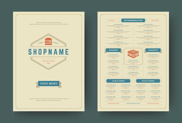 バーガーレストランメニューレイアウトデザインパンフレット