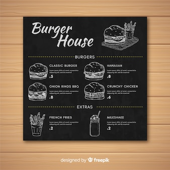 Burger restaurant menu retro style template on chalkboard