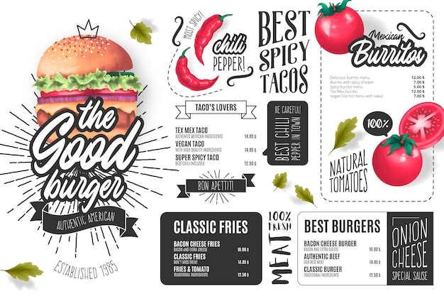 Burger restaurant menu template with illustrations