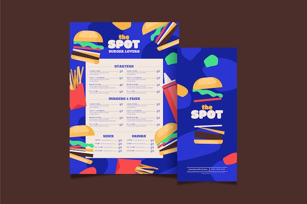Burger restaurant vertical menu template