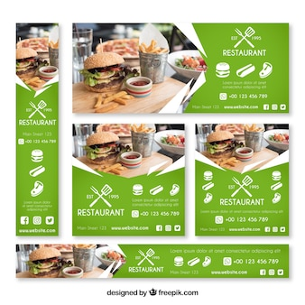Burger restaurant web banner collection with photo
