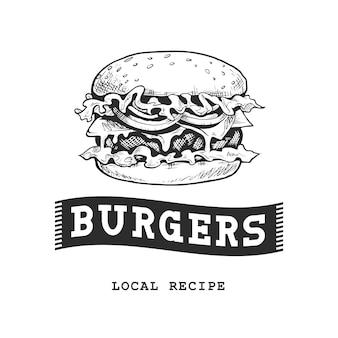 Бургер ретро эмблема. шаблон логотипа. черно-белый эскиз бургера. eps10 векторные иллюстрации.