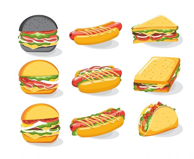Установленные значки, меню булочки хлеба сандвича бургера, меню быстрого питания. гамбургер, чизбургер, гамбургер. иллюстрация