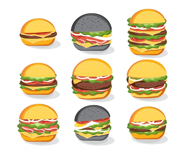 Burger sandwich bread bun icons set, fast food menu. hamburger, cheeseburger, beefburger. illustration