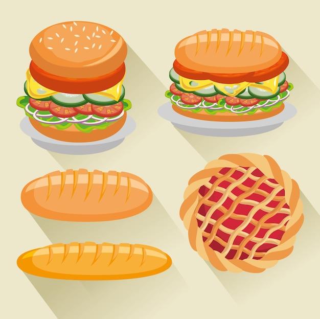 Burger sandwich bread and pie