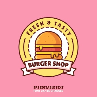 Burger shop logo vector icon illustrationpremium fast food logo in flat style for restaurant