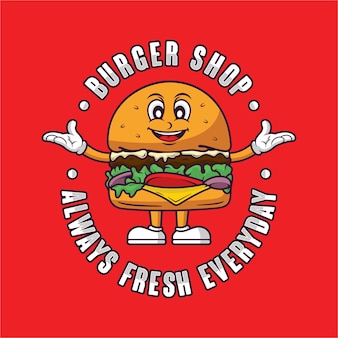 버거 숍 마스코트 로고