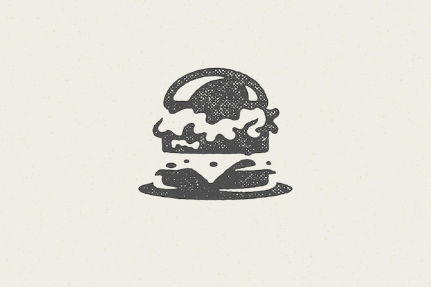 Burger silhouette as logo of fast food service illustration
