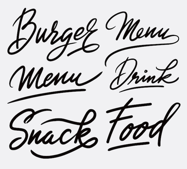 Burger and snack menu handwriting calligraphy
