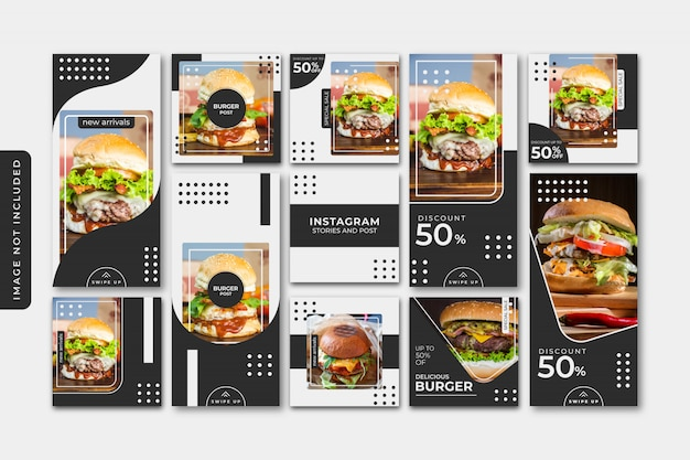 Burger social media post template, square banner or flyer