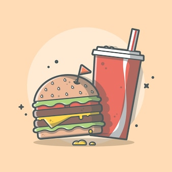 Burger and soda   icon illustration. fast food concept isolated