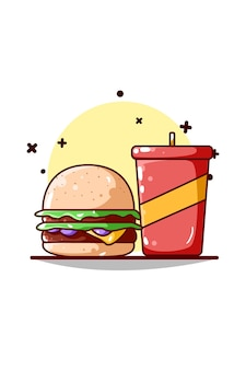 Burger and soft drink illustration