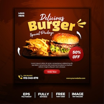 Burger special packages social media banner flyer template