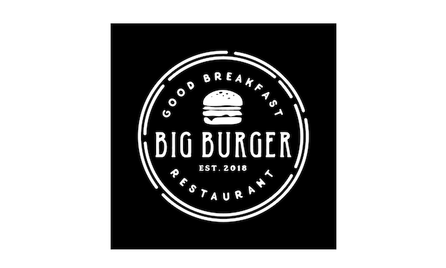 Burger stamp logo design inspiration
