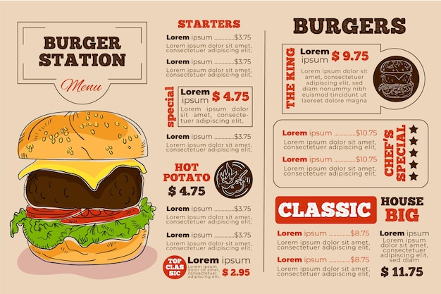 Burger station digital horizontal restaurant menu template