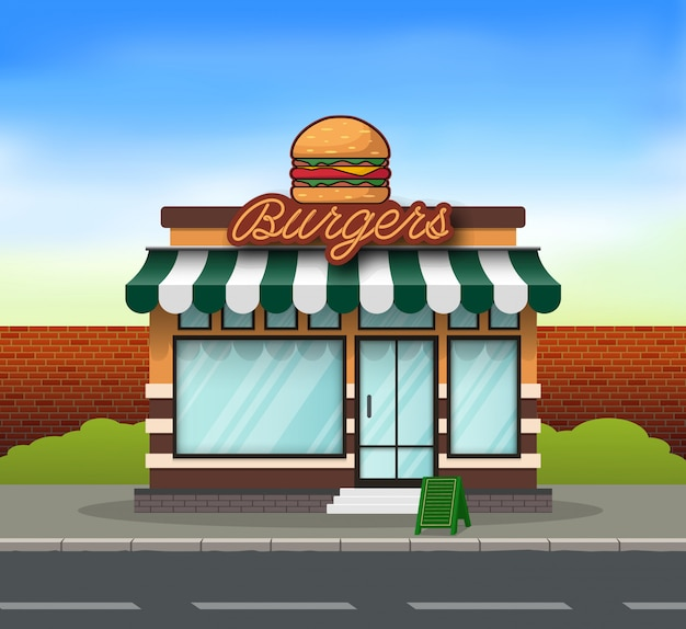 Burger store building background