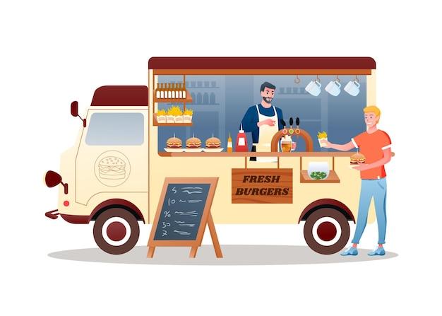 버거 길거리 음식 시장 트럭. 햄버거 감자 튀김과 맥주, 판매용 패스트 푸드를 제공하는 남자 판매자 캐릭터가있는 만화 밴 자동차 차량 배달 운송