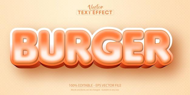 Burger text, cartoon style editable text effect