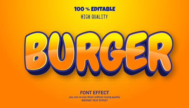 버거 텍스트 효과. 편집 가능한 글꼴