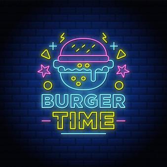 Бургер время неоновая вывеска стиль текста со значком бургер.