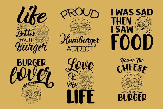 ハンバーガータイポグラフィレタリング手描きイラストスローガン引用符tシャツまたはマグカップまたはバッグのデザイン
