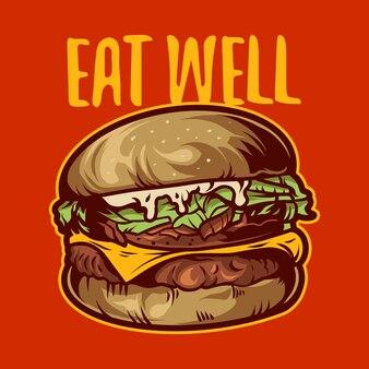 빨간색 배경에 햄버거 벡터 일러스트 디자인