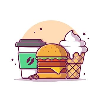 Бургер с кофе и мороженым значок иллюстрации. фаст-фуд значок концепции изолированы. плоский мультяшный стиль