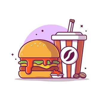 コーヒーアイコンイラストハンバーガー。ファーストフードアイコンのコンセプトが分離されました。フラット漫画スタイル