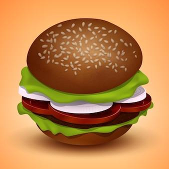 Бургер с котлетой, помидорами, луком и салатом, векторные иллюстрации