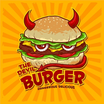 Burger with flag for junk food restaurant logo