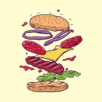 Burger with floating meat and vegetables in hand drawn