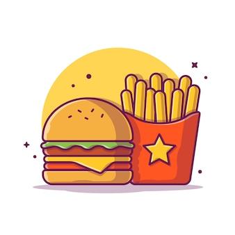 Бургер с картофелем фри значок иллюстрации. фаст-фуд значок концепции изолированы. плоский мультяшный стиль