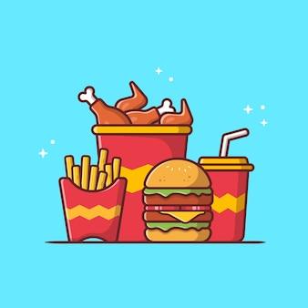 프라이드 치킨, 감자 튀김, 소다 만화 벡터 아이콘 일러스트와 함께 햄버거. 패스트 푸드 아이콘