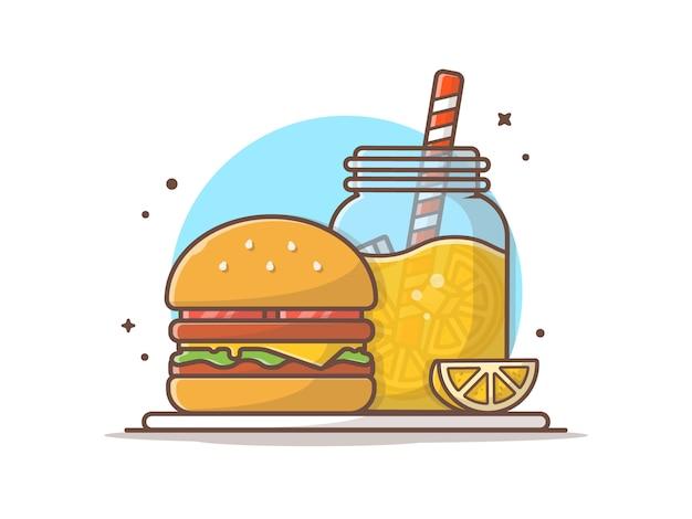 レモネードとハンバーガー