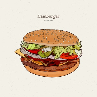 肉とチーズのイラストがハンバーガー。手描きスケッチ。