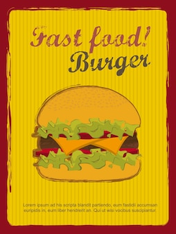 Burger with meat announcement vintage style vector illustration