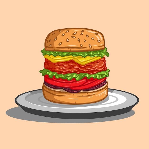 肉、チーズ、セレトリー、トマト、タマネギのハンバーガー。
