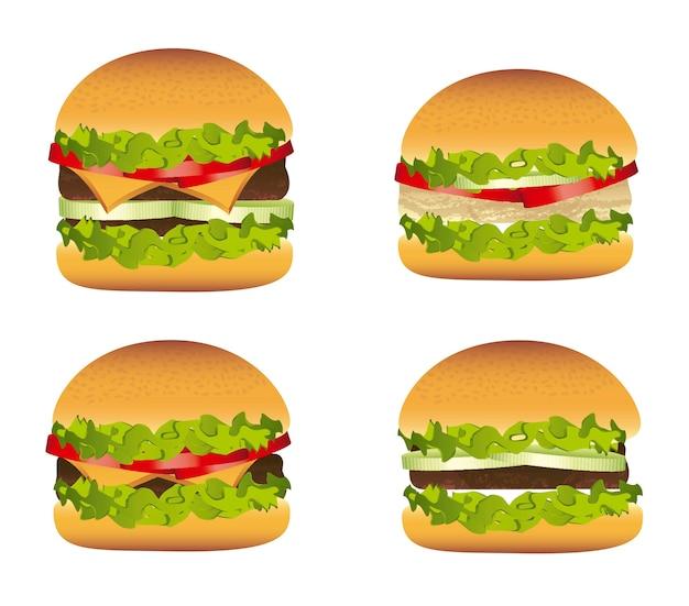 Burger with meat over vintage background vector illustration