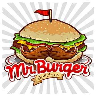 Burger with mustache vector for junk food restaurant logo
